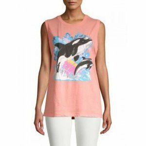 Wildfox Authentic Orcas Whale Muscle Tank Top